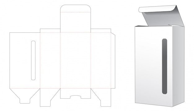 Box with long and narrow window die cut template