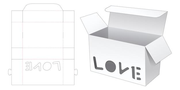 사랑 단어 창 다이 컷 템플릿 상자