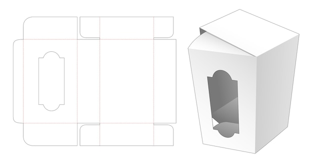 Box with luxury window die cut template