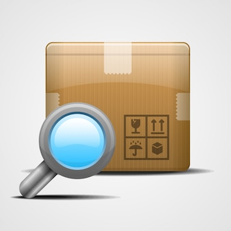Box with magnifying glass