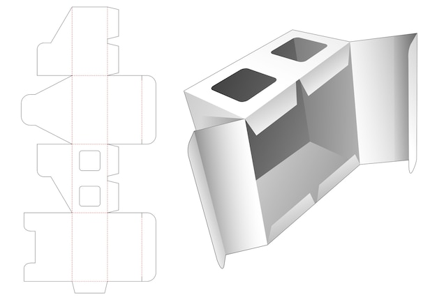 Box with middle open point and 2 window die cut template