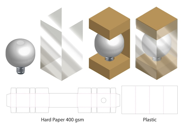 Box with plastic window die cut mock up template