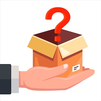 A box with a question mark lies in a person hand. flat illustration.