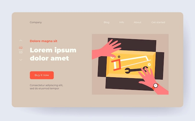 Box with repair tools. human hands, handsaw, spanner flat vector illustration. domestic works, handyman, home maintenance concept for banner, website design or landing web page