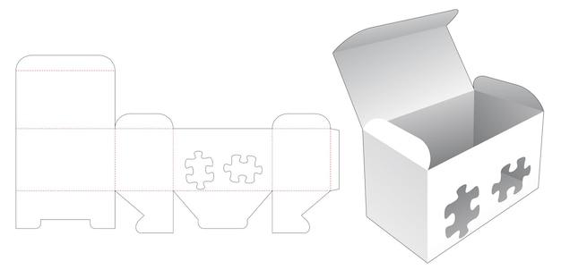 스텐실 퍼즐 조각이 있는 상자 다이 컷 템플릿