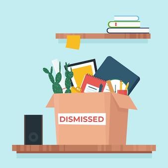 Коробка с вещами. увольнение с работы, уволен. иллюстрация в плоском стиле