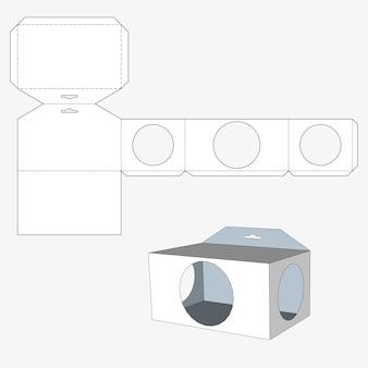 三角形の窓が付いている箱。食品、ギフト、その他の製品の梱包箱。分離された白い背景に。あなたのデザインの準備ができました。製品パッキングベクトルeps10
