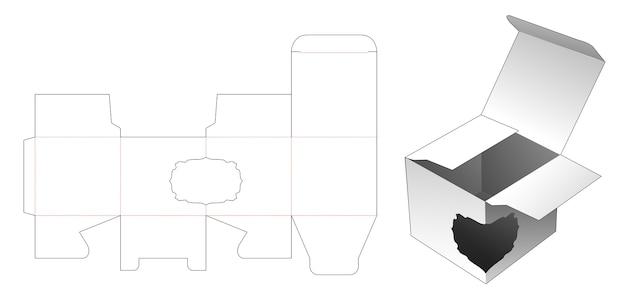 Box with vintage curve window die cut template design Premium Vector