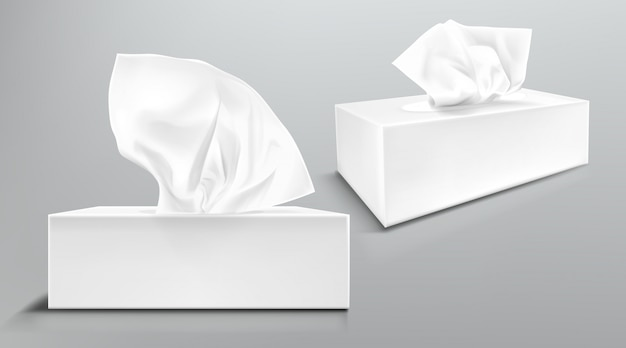 Box with white paper napkins front and angle view. vector realistic mockup of blank cardboard package with facial tissues or handkerchiefs isolated