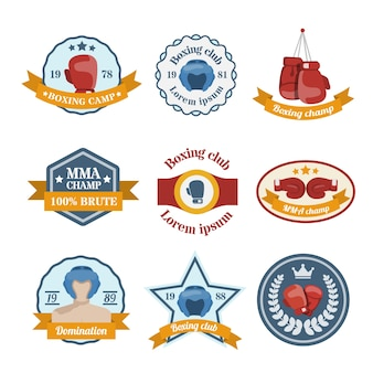 Box бой спортивный лагерь чемпионата чемпионата эмблемы набор изолированных векторных иллюстраций