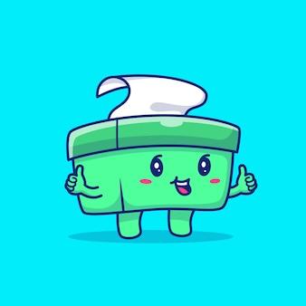 Симпатичные ткани box мультфильм значок иллюстрации. здоровый характер талисмана. здоровье и медицинское понятие иконы изолированы