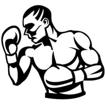 Boxer in black and white vector illustration