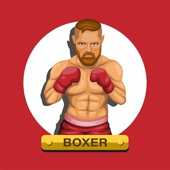 Боксер, боксер истребитель спортсмен спортивный персонаж концепции в мультфильме