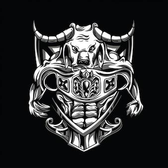 Boxer bull black and white illustration