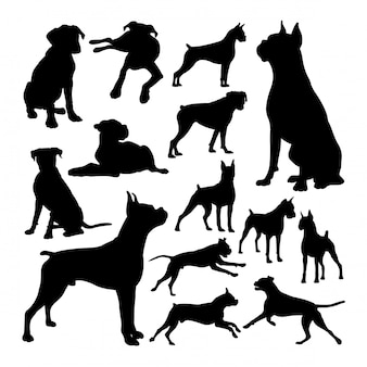 Boxer dog animal silhouettes