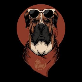 Боксер собака бандана иллюстрация