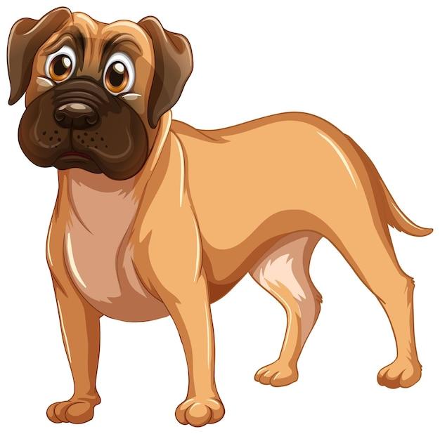 Cartone animato cane boxer su sfondo bianco