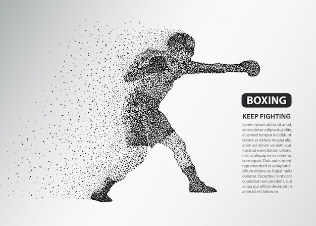 Boxer dots silhouette, boxing fighter banner