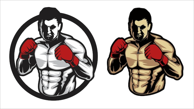 Boxer logo, bodybuilder, fitness and gym concept, flat illustration vector