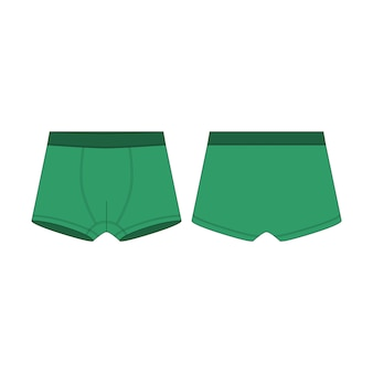 Boxer shorts in green color technical sketch. boxers underpants