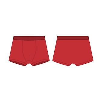 ボクサーショートパンツテクニカルスケッチ。男の子用の赤いボクサーパンツ
