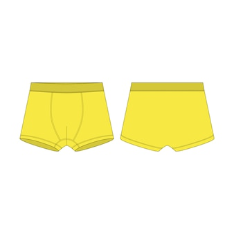 Boxer shorts in yellow color technical sketch. boxers underpants for boys isolated  .