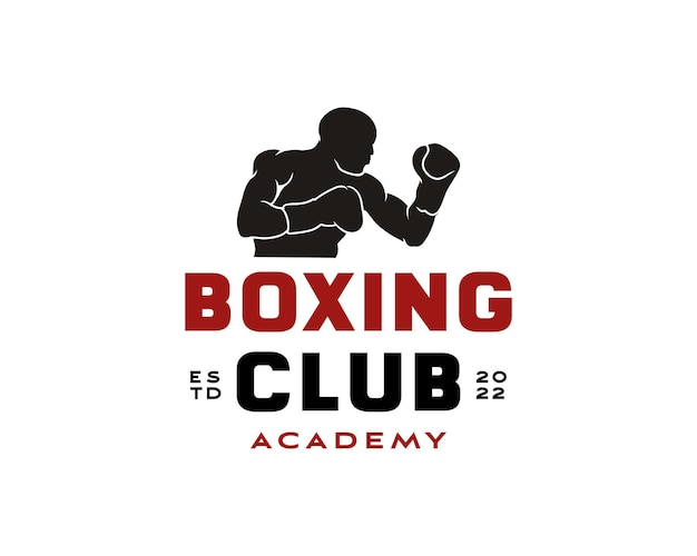 Боксер силуэт логотип боксерский клуб академия дизайн вектор шаблон
