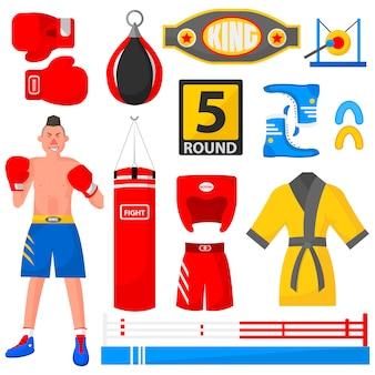 Boxer, sport equipment and uniform.