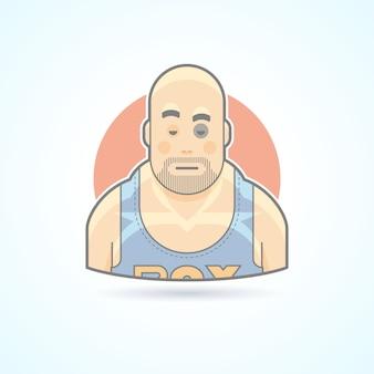 Боксер, спортивный боец, мужчина с синяком на значке лица. аватар и иллюстрация человека. цветной очерченный стиль.