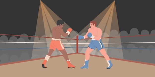 ボクサーはボクシングのリングで戦っています。黒人と白人の男性が戦う
