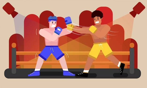 リングの概念図で戦うボクサー