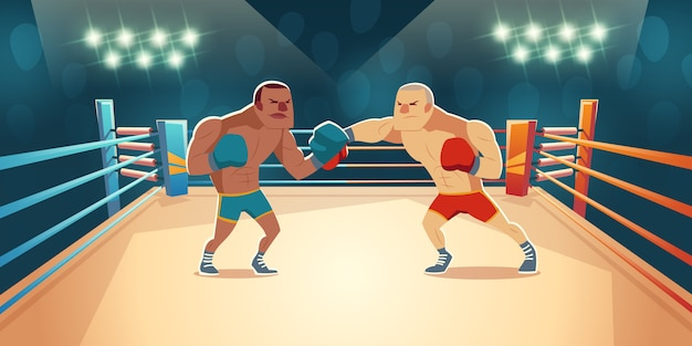 Boxers fighting on ring cartoon illustration