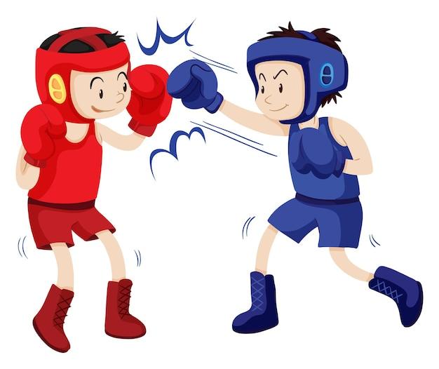 파란색과 빨간색 의상을 입은 권투 선수