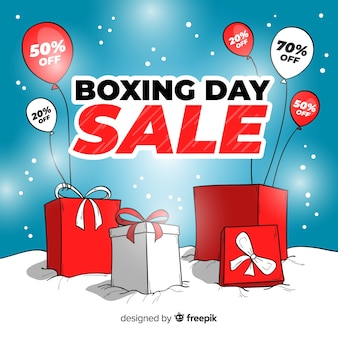 Boxes and balloons boxing day sale background