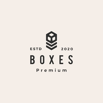 Boxes hipster vintage logo  icon illustration