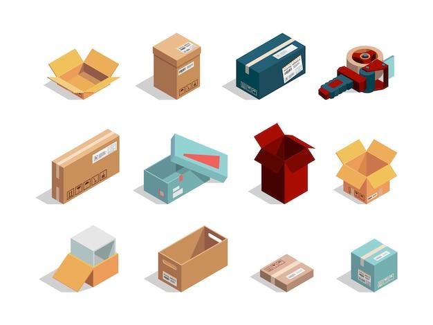 상자 아이소 메트릭. 골판지 패키지 열기 및 폐쇄 컨테이너 운송 상자 상자 컬렉션. 배송 및 포장용 그림 컨테이너 상자, 판지 포장