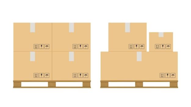 상자 팔레트. 나무 팔레트에 깨지기 쉬운 기호가 있는 베이지색 판지 닫힌 상자 스택, 포장 화물 보관, 산업 선적, 배송 상품 벡터 격리 세트