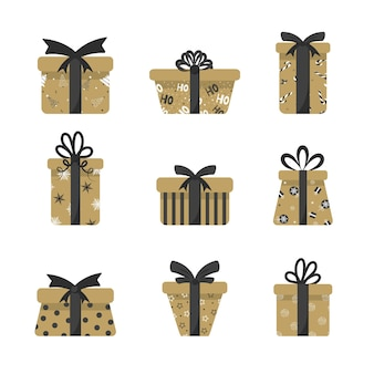 Boxes for presents in gold and dark shades