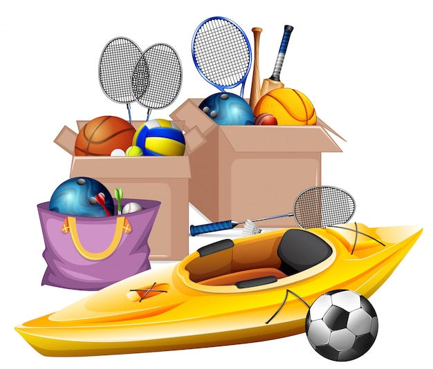 Boxes of sport equipments on white