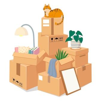 Ящики штабелируются для перемещения. сложенные коричневые картонные пакеты с вещами для переезда в новый дом. коробка куча запечатанных товаров. векторный движущийся концепт. иллюстрация штабелирования и упаковки ящика сваи к перемещению
