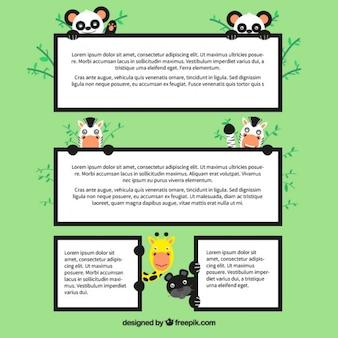 Caselle di testo con gli animali selvatici