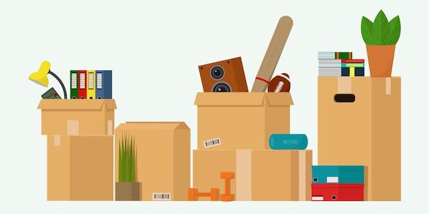 新しい家に移動するためのものが入った箱物が入った段ボール箱