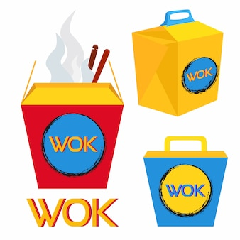 Boxes for wok food, chinese and japan food