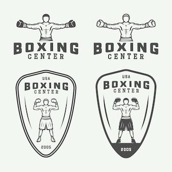 Значки логотипов бокса и боевых искусств и этикетки в винтажном стиле. векторная иллюстрация