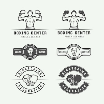 ボクシングと武道のロゴバッジとビンテージスタイルのラベル
