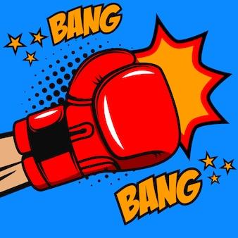 Бокс взрыва, взрыва. боксерские перчатки на фоне стиля поп-арт. элемент