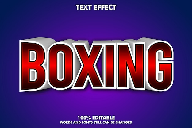 Boxing banner - editable 3d text effect
