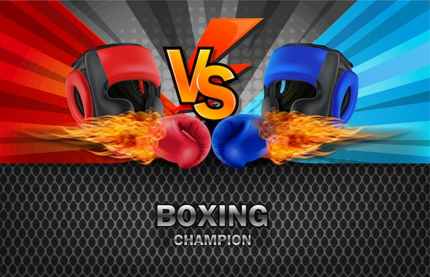 Boxing blue and red fighting board background.
