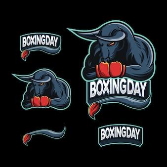 Boxing bull mascot esport logo vector illustration