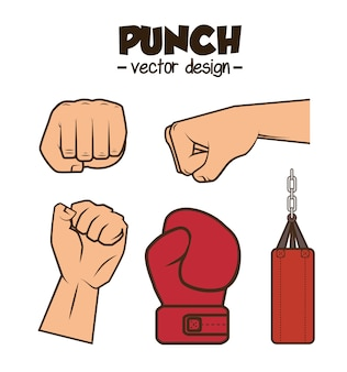 Boxing championship punch isolated